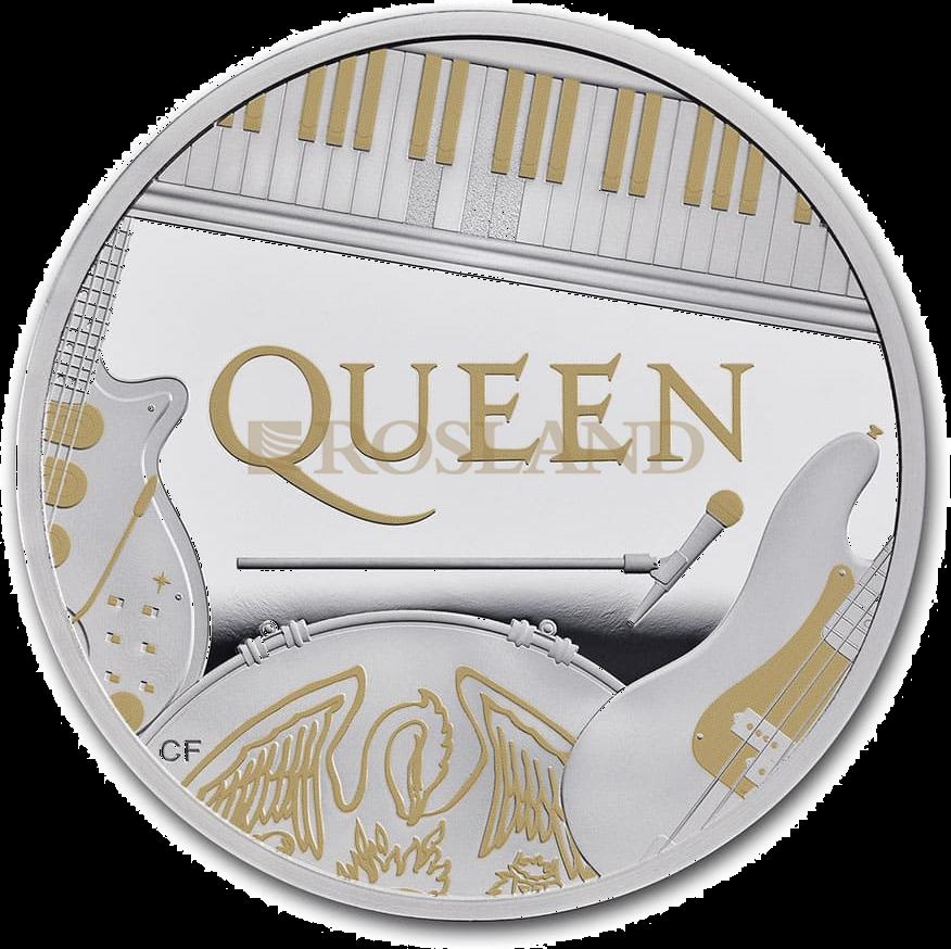 1 Unze Silbermünze GB Musiklegenden - Queen 2020 PP (Box, Koloriert)