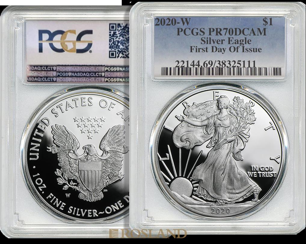 1 Unze Silbermünze American Eagle 2020 (W) PP PCGS PR-70 (FD, DCAM)