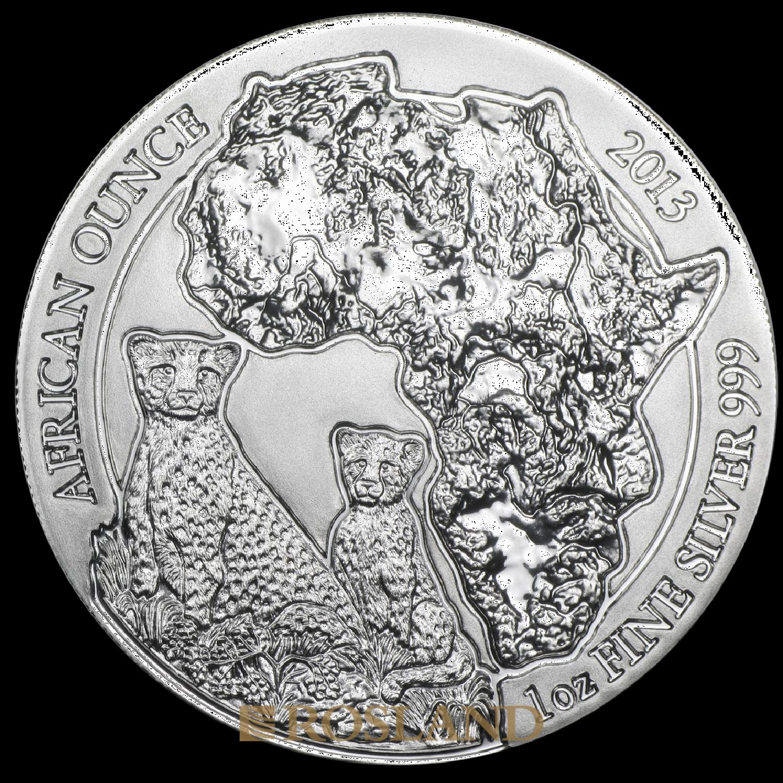 1 Unze Silbermünze Ruanda Wildlife Gepard 2013