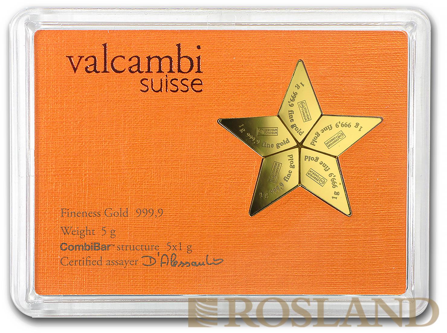 5 x 1 Gramm Goldmünze Gold Star 2015 Valcambi CombiCoin™
