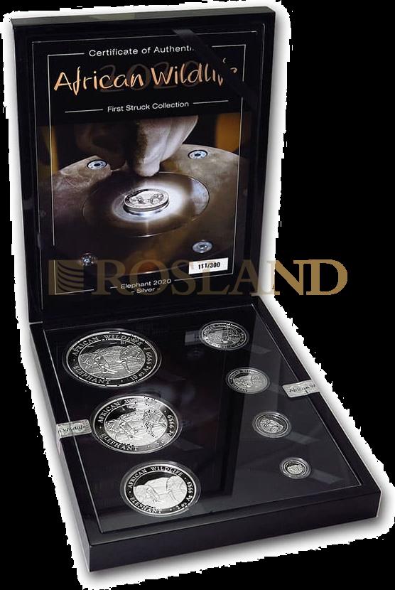 18,85 Unzen - 7 Silbermünzen First Struck Set Somalia Elefant 2020 PP (Box, Zertifikat)