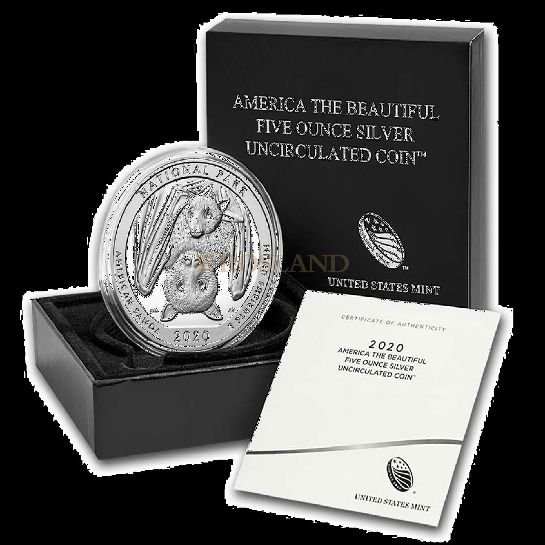 5 Unzen Silbermünze ATB National Park of American P (Box, Zertifikat)