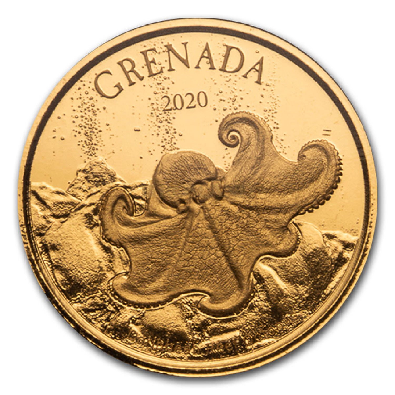 1 Unze Goldmünze EC8 Grenada Oktopus 2020 (Blister, Zertifikat)