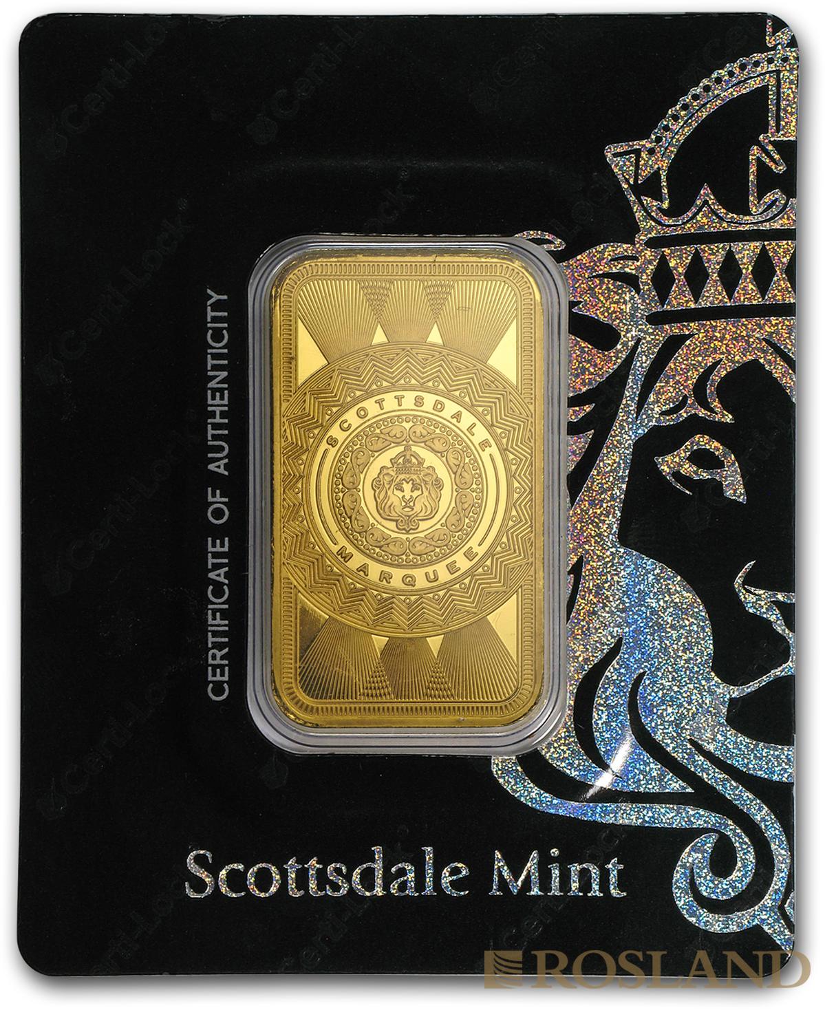 1 Unze Goldbarren Scottsdale Mint Marquee