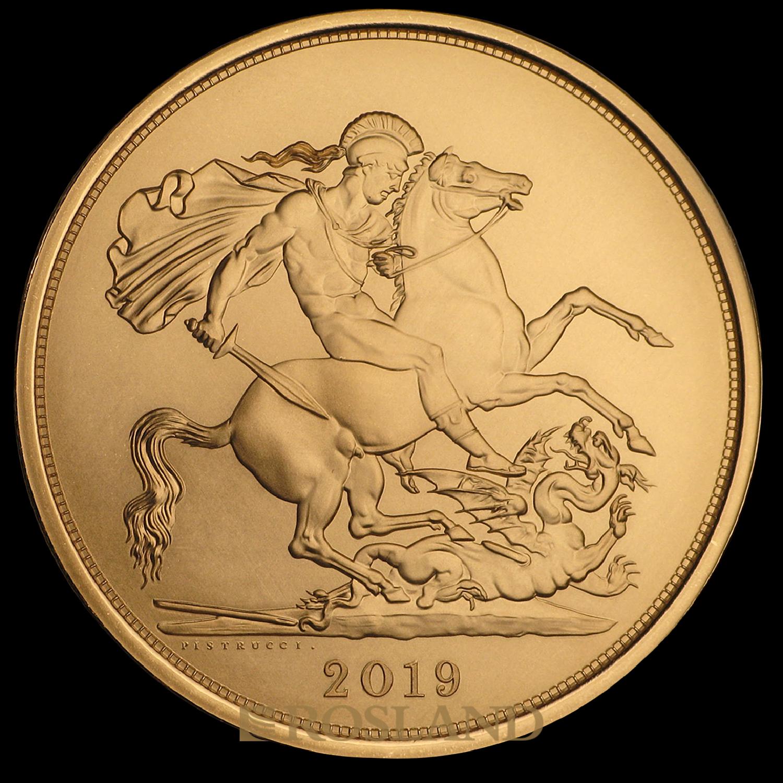 5 Sovereign Goldmünze Großbritannien 2019 (Box, Zertifikat)