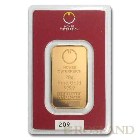 20 Gramm Goldbarren Münze Österreich