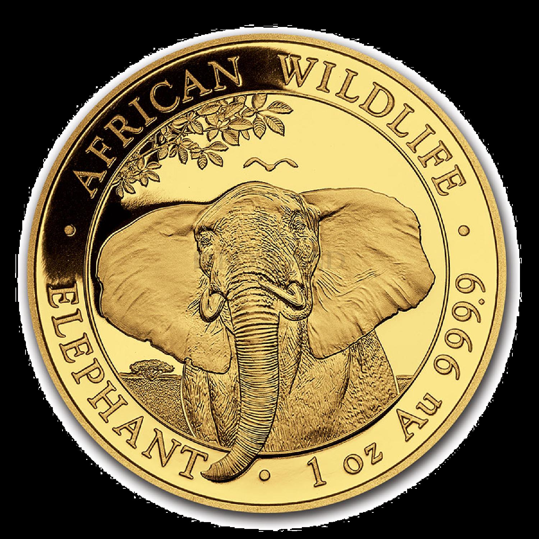 1 Unze Goldmünze Somalia Elefant 2021
