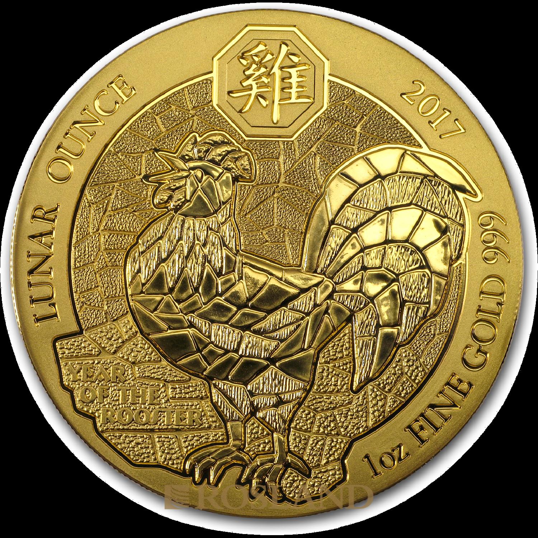 1 Unze Goldmünze Ruanda Lunar Hahn 2017 (Box, Zertifikat)