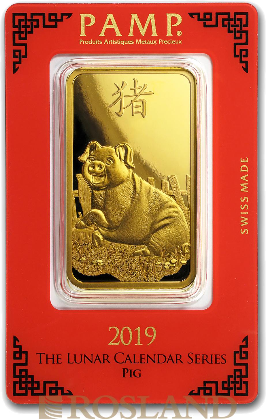 100 Gramm Goldbarren PAMP Jahr des Schweins 2019