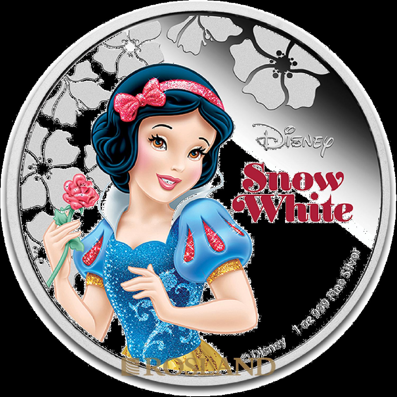 1 Unze Silbermünze Disney© Schneewittchen 2015 PP (Koloriert, Box, Zertifikat)