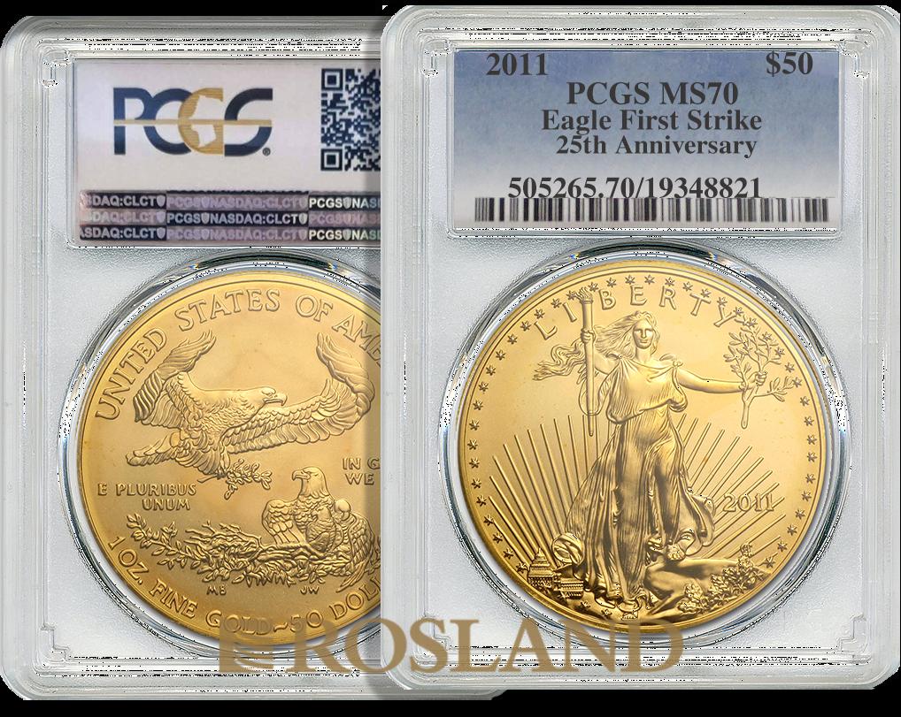 1 Unze Goldmünze American Eagle 2011 25 Jahre Jubiläum PCGS MS-70 (FS)