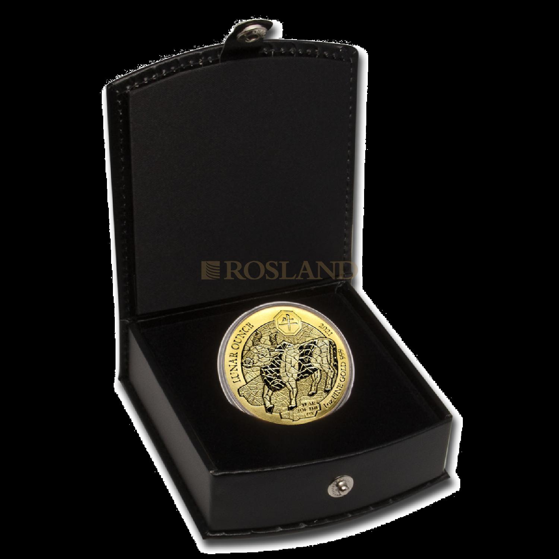 1 Unze Goldmünze Ruanda Lunar Ochse 2021 (Box, Zertifikat)