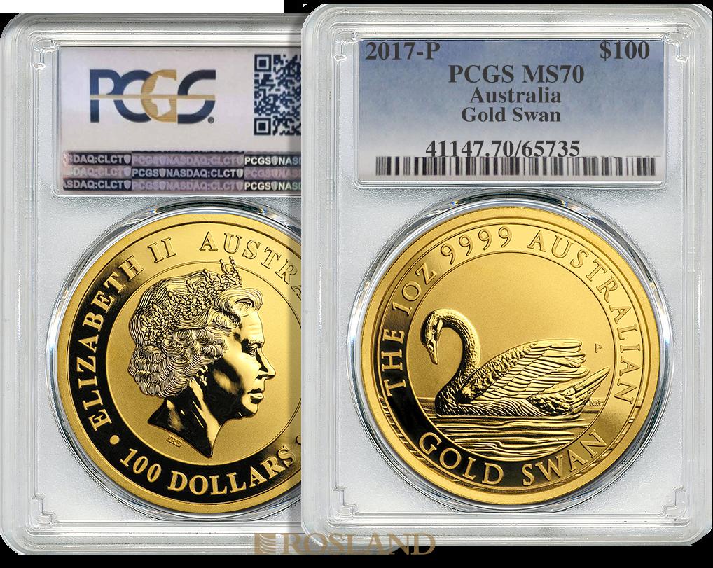 1 Unze Goldmünze Australien Schwan 2017 PCGS MS-70