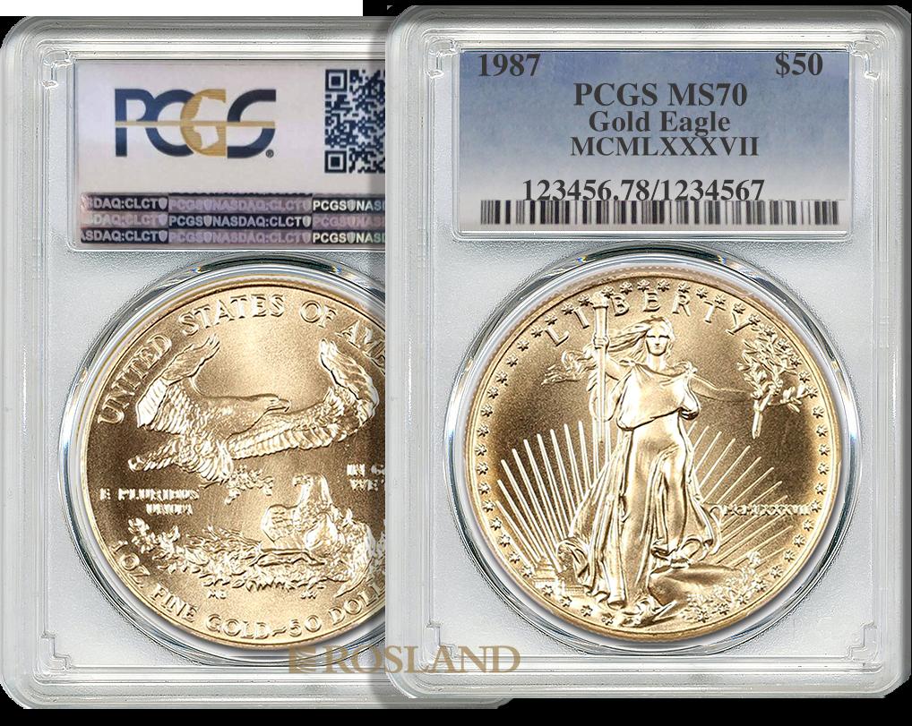 1 Unze Goldmünze American Eagle 1987 (MCMLXXXVII) PCGS MS-70