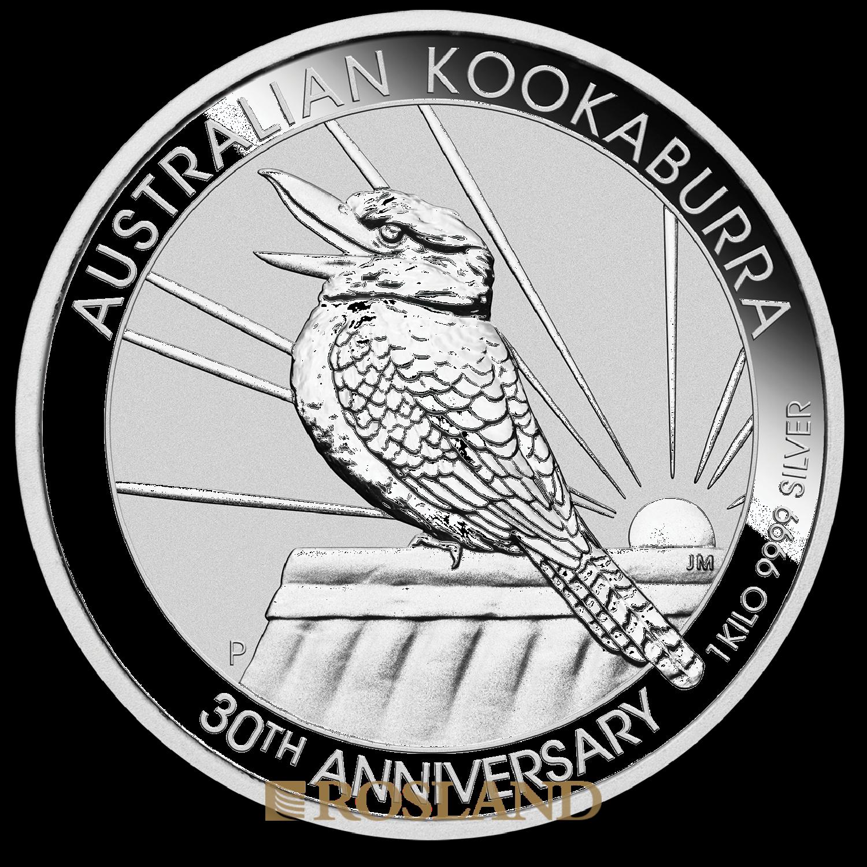 1 Kilogramm Silbermünze Australien Kookaburra 30 Jahre Jubiläum 2020