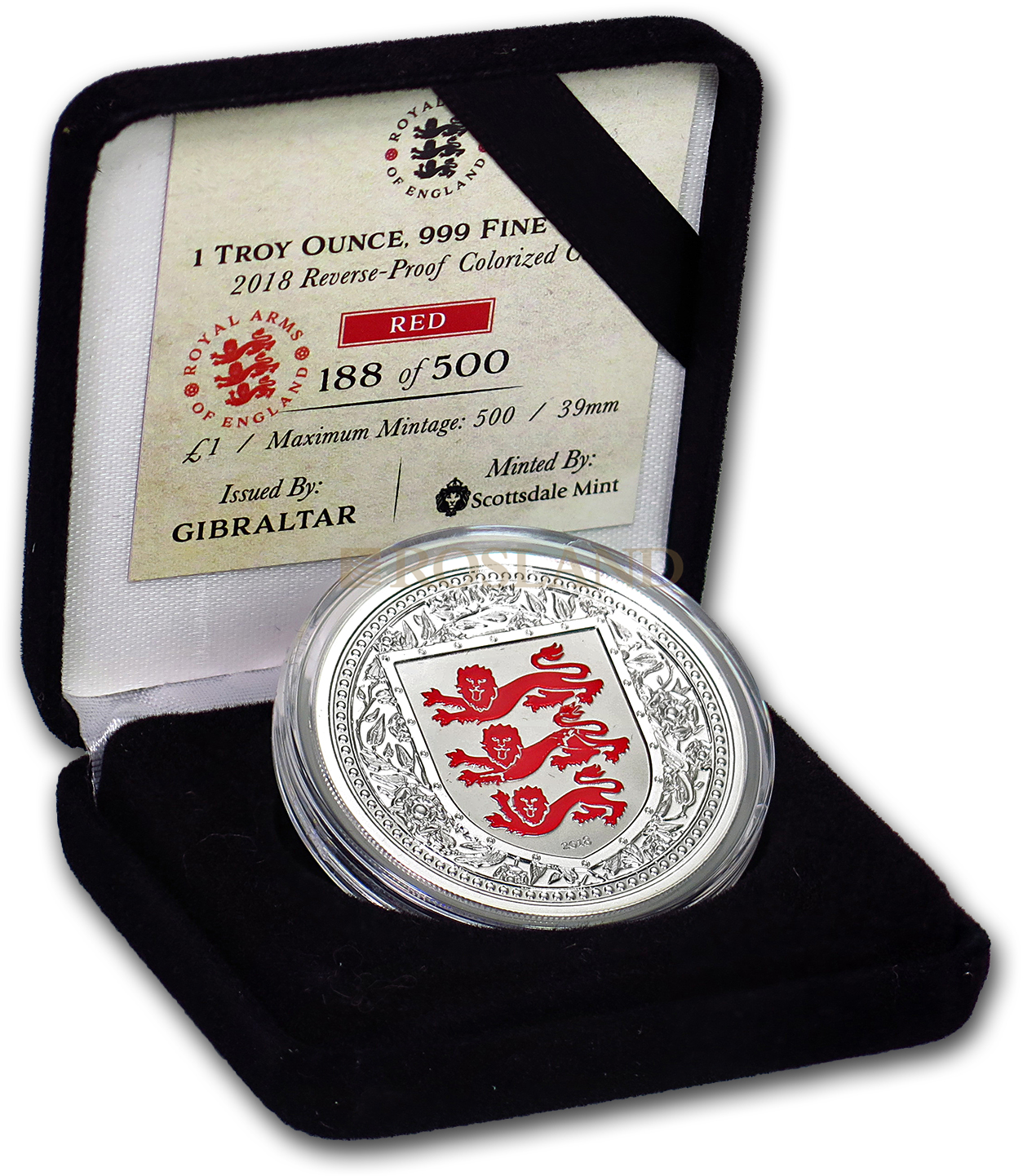 1 Unze Silbermünze Royal Arms of England 2018 PP (Rot, Box, Zertifikat)