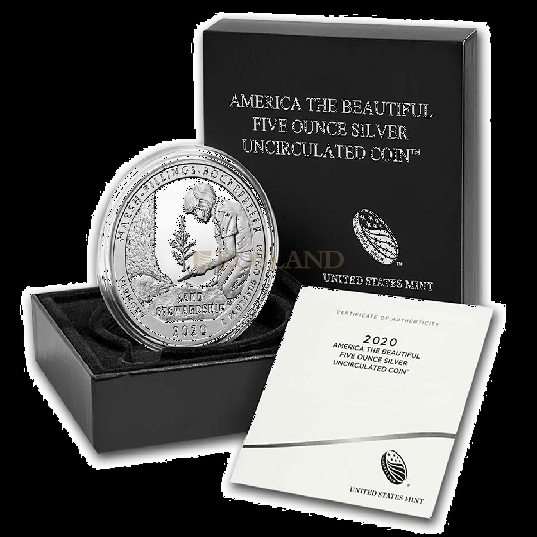 5 Unzen Silbermünze ATB  MB Rockefeller National Historical Park P (Box, Zertifikat)