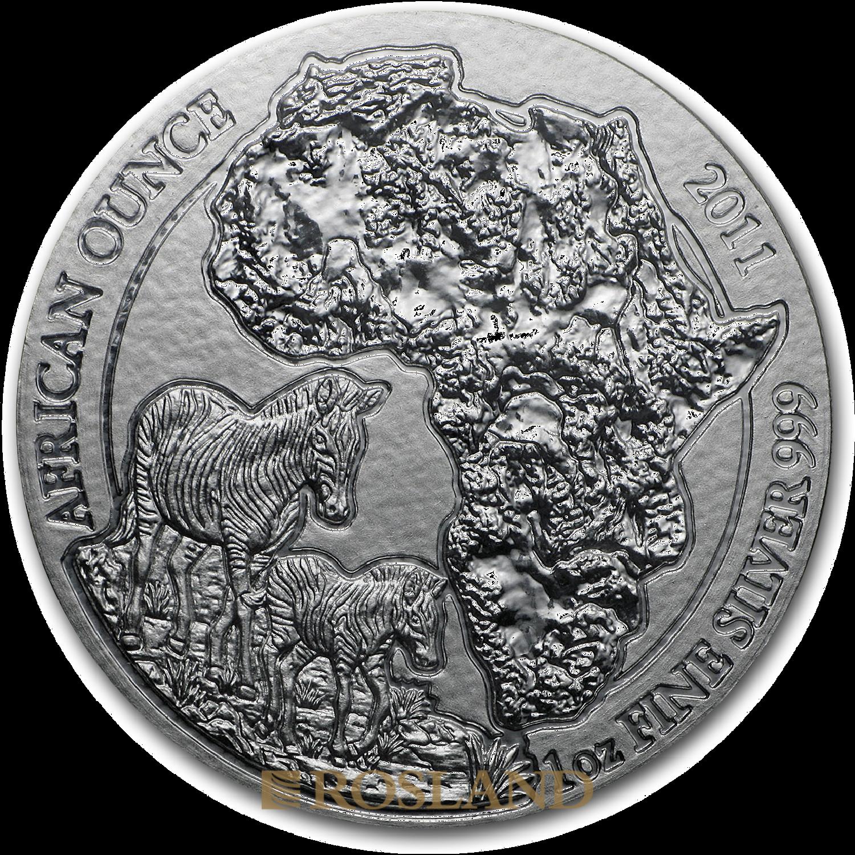 1 Unze Silbermünze Ruanda Wildlife Zebra 2011