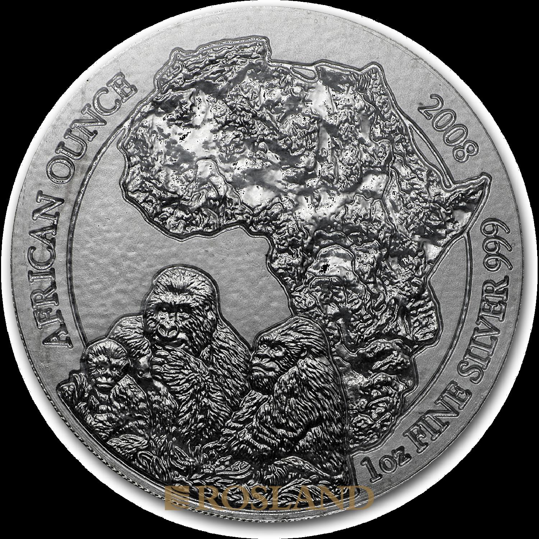 1 Unze Silbermünze Ruanda Wildlife Gorilla 2008