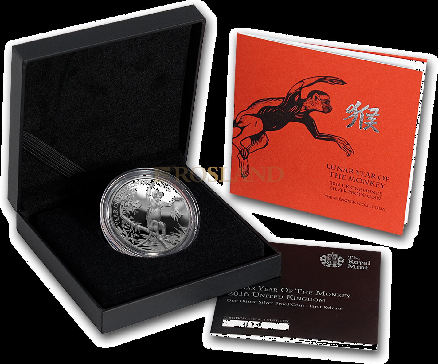 1 Unze Silbermünze Great Britain Jahr des Affens 2016 PP (Box, Zertifikat)