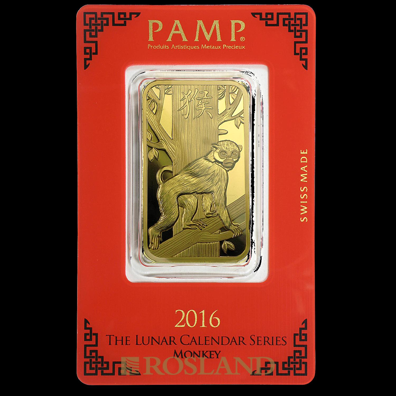 1 Unze Goldbarren PAMP Lunar Jahr der Affen 2016