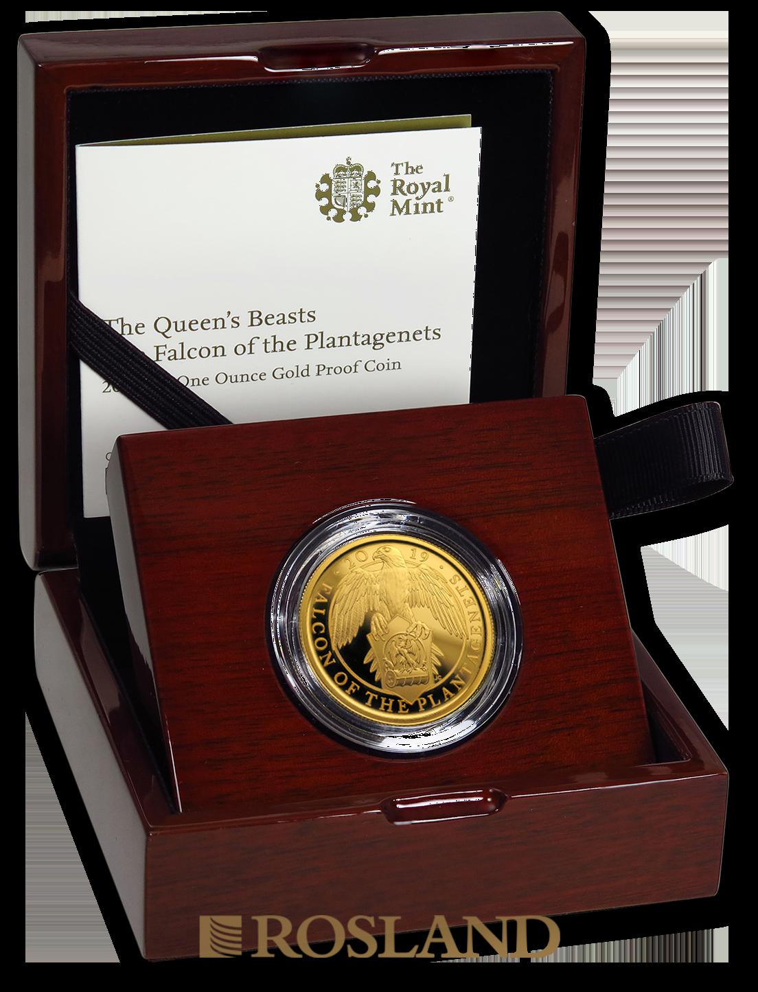 1 Unze Goldmünze Queens Beasts Falcon 2019 PP (Box, Zertifikat)