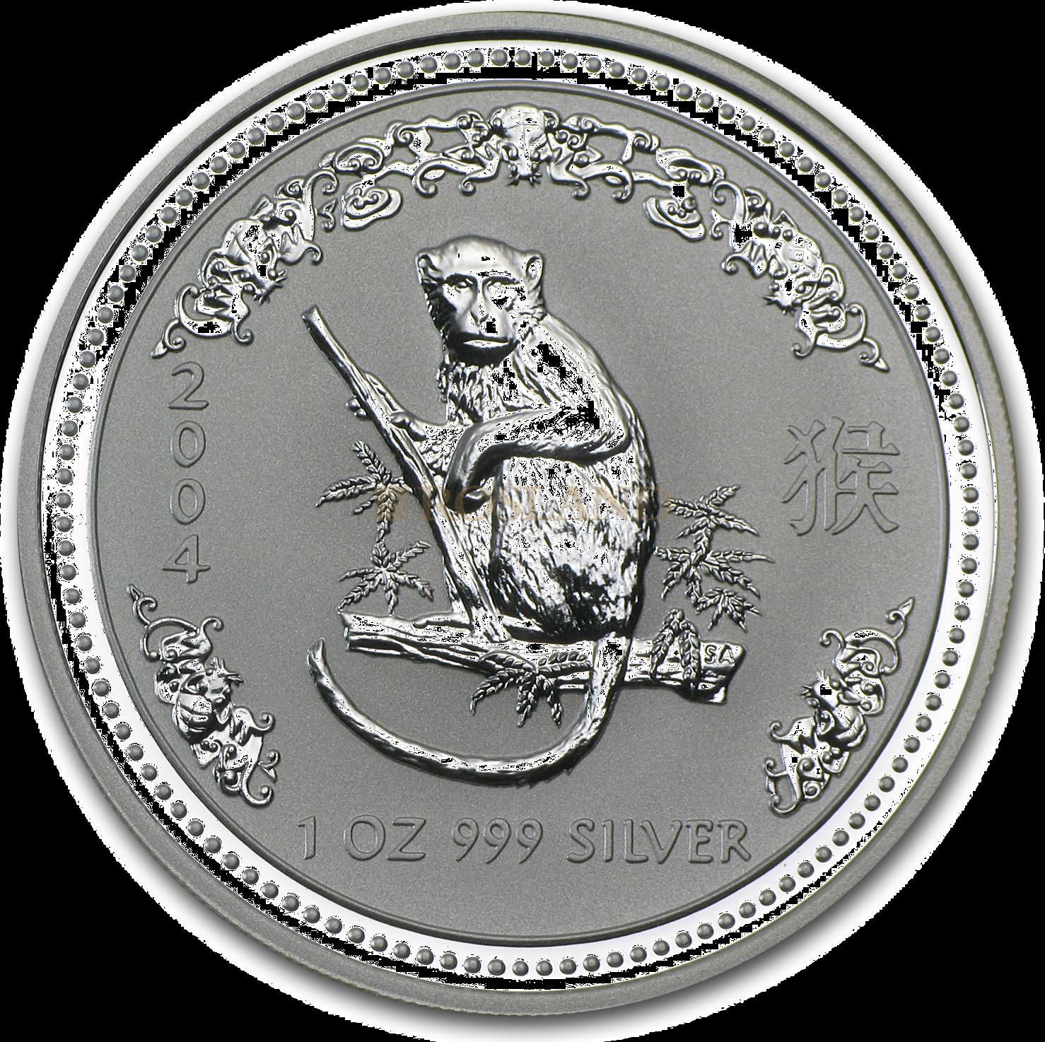1 Unze Silbermünze Australien Lunar 1 Affe 2004