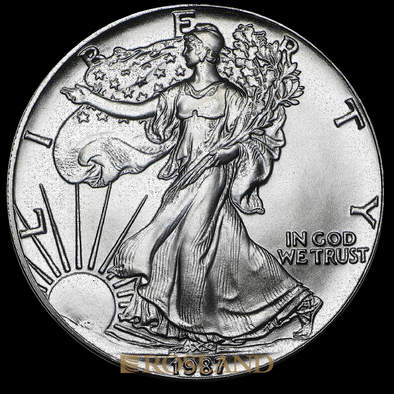 1 Unze Silbermünze American Eagle 1987