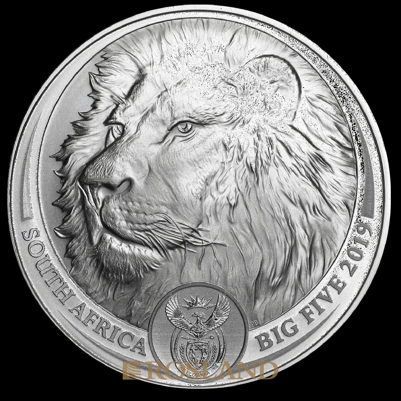 1 Unze Silbermünze Big Five Löwe 2019 (Box, Zertifikat)