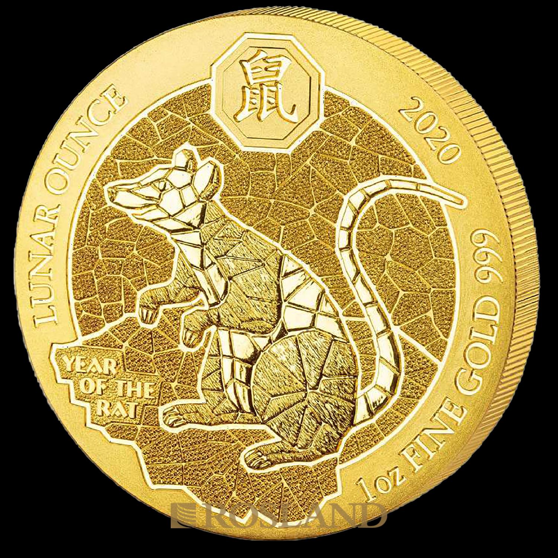 1 Unze Goldmünze Ruanda Lunar Ratte 2020 (Box, Zertifikat)