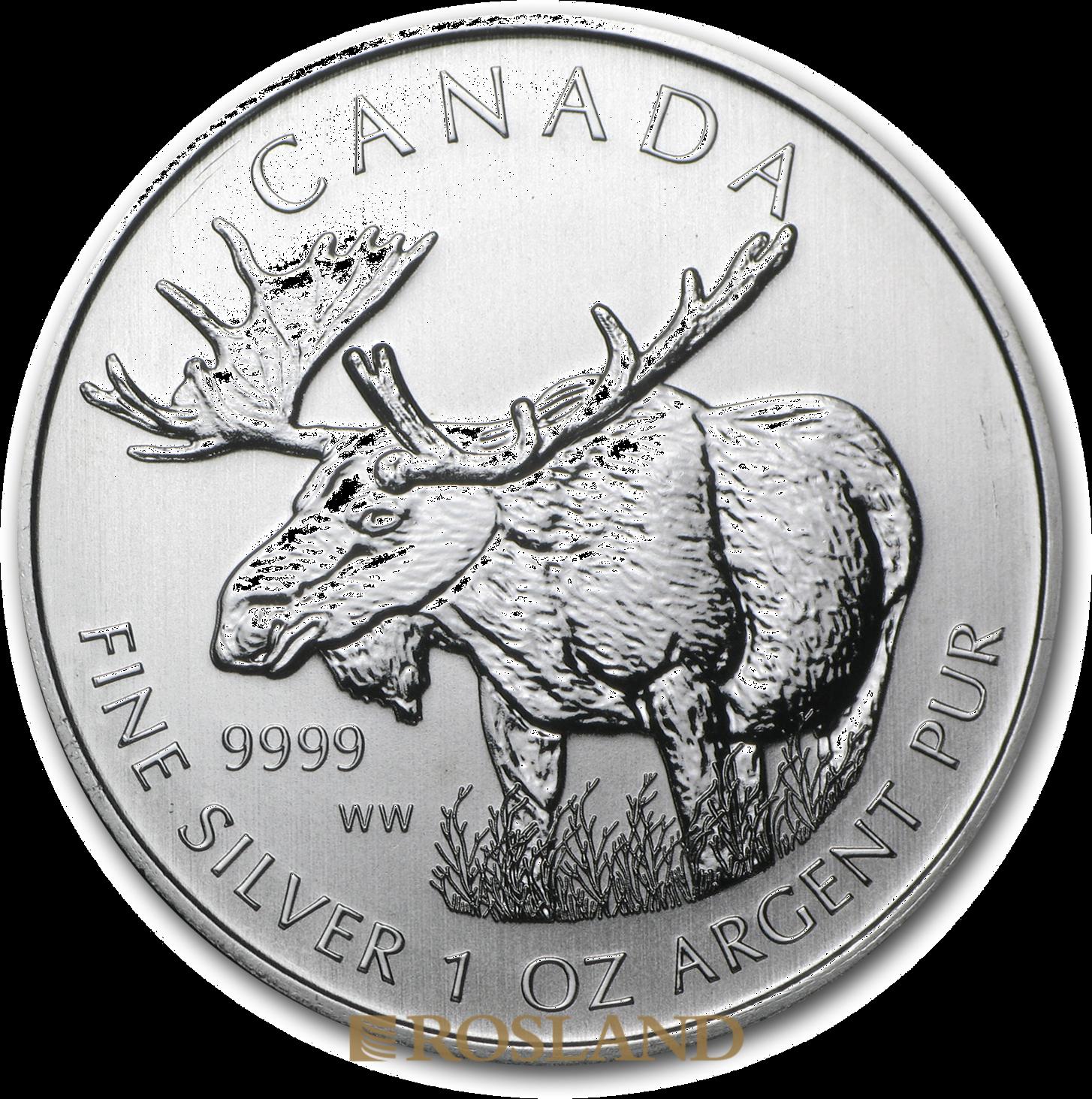 1 Unze Silbermünze Wildlife Elch 2012