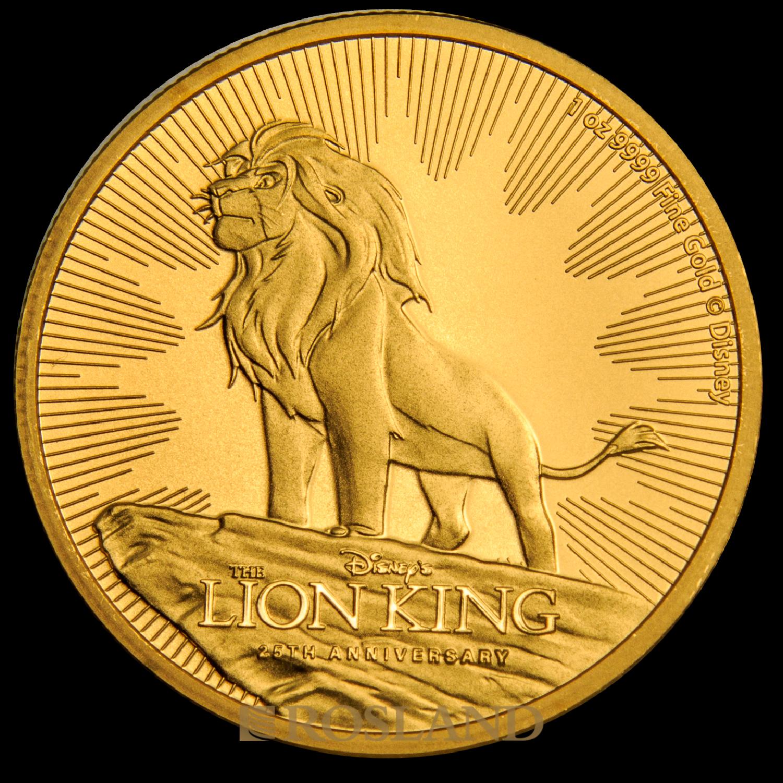 1 Unze Goldmünze Disney® 25 Jahre König der Löwen 2019