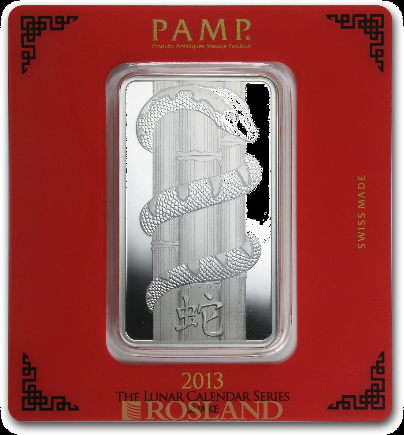 100 Gramm Silberbarren PAMP Lunar Jahr der Schlange 2013