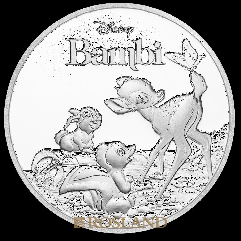 1 Unze Silbermünze Disney® Bambi 25 Jahre Jubiläum 2017 PP (Box, Zertifikat)