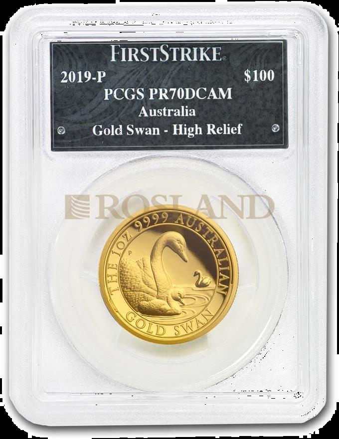 1 Unze Goldmünze Australien Schwan 2019 PP PCGS PR-70 (DCAM, HR, First Strike)