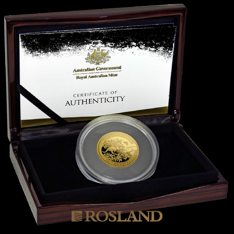 1 Unze Goldmünze RAM Känguru 25 Jahre Jubiläum 2018 PP (Box, Zertifikat)