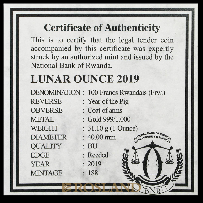 1 Unze Goldmünze Ruanda Lunar Schwein 2019 (Box, Zertifikat)