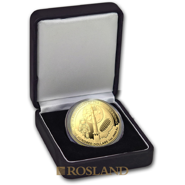 1 Unze Goldmünze RAM 50 Jahre Mondlandung 2019 (Box, Zertifikat)