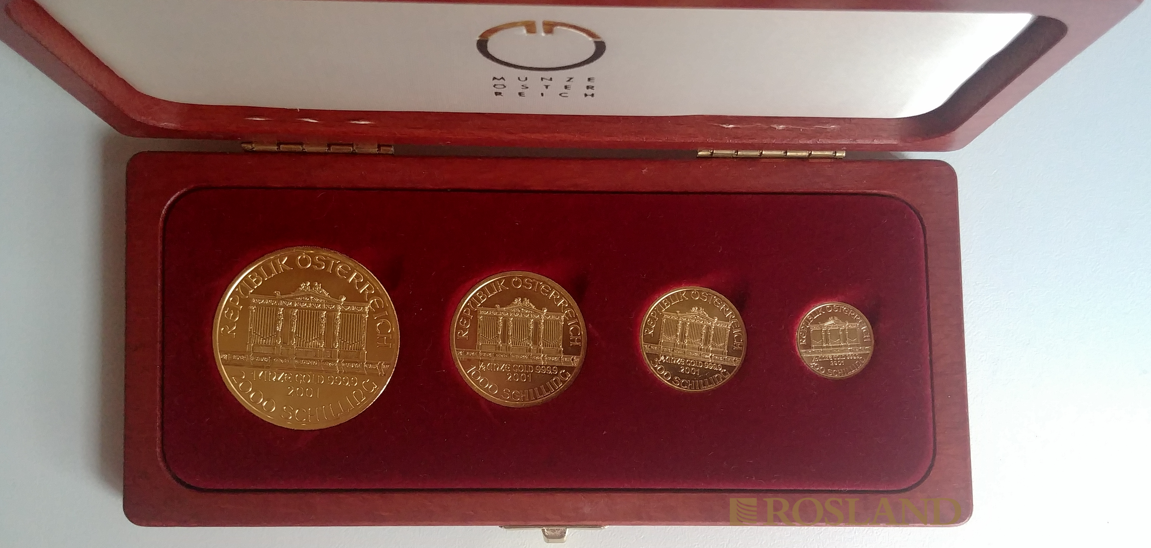 1,85 Unzen 4 Goldmünzen Wiener Philharmoniker 2001 (Set, PP-Like, Limited)