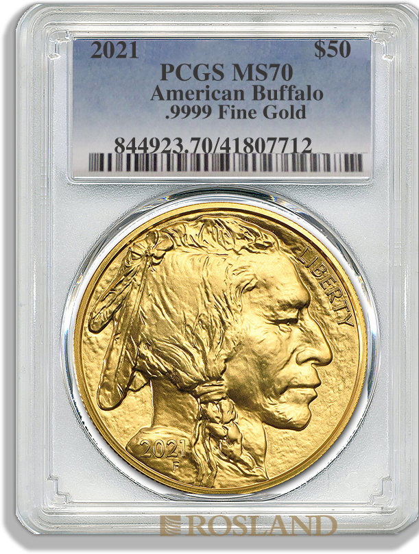 1 Unze Goldmünze American Buffalo 2021 PCGS MS-70