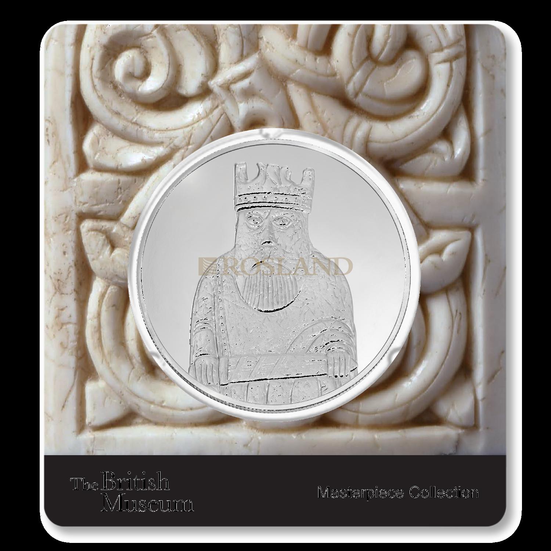 2,5 Unzen Silbermünze PAMP Britisches Museum Lewis Chessmen - The King (PP, Zertifikat)