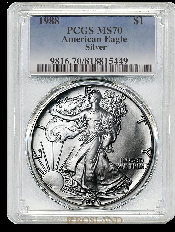 1 Unze Silbermünze American Eagle 1988 PCGS MS-70