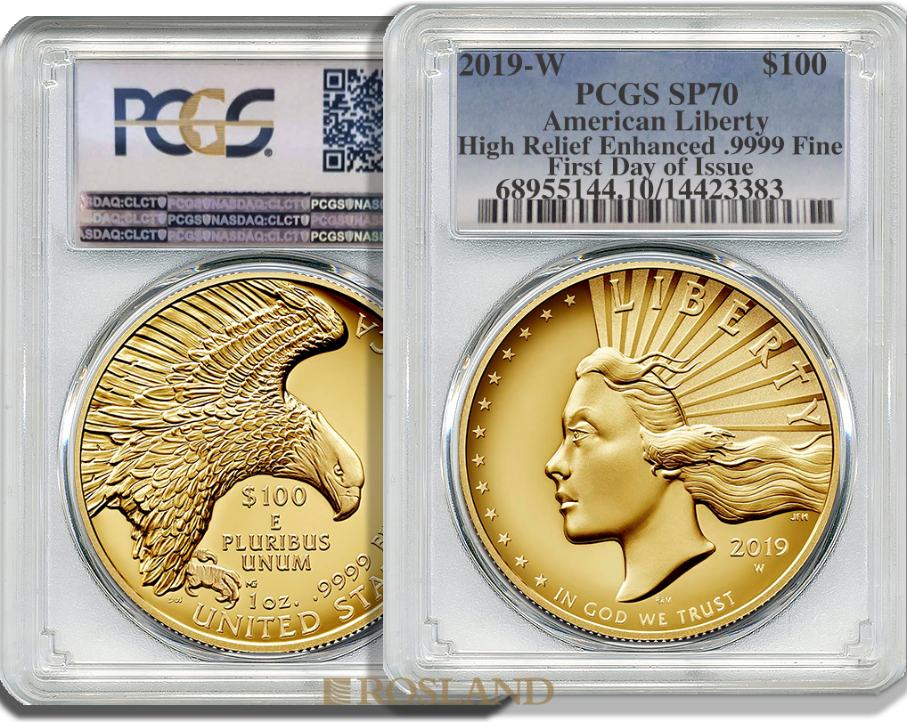1 Unze Goldmünze American Liberty 2019 PL PCGS SP-70 (HR, FD)
