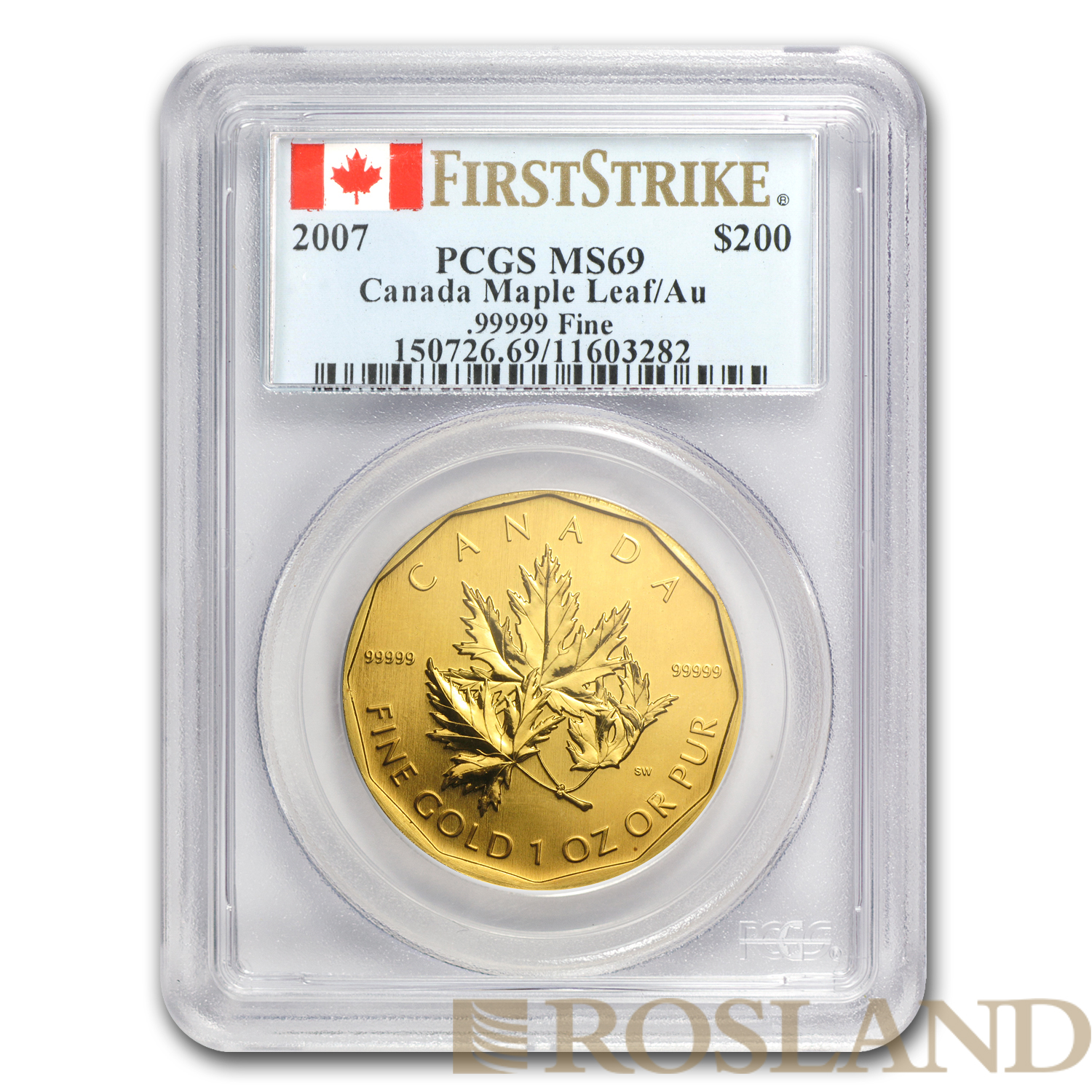 1 Unze Goldmünze Kanada Maple Leaf 2007 PCGS MS-69 First Strike