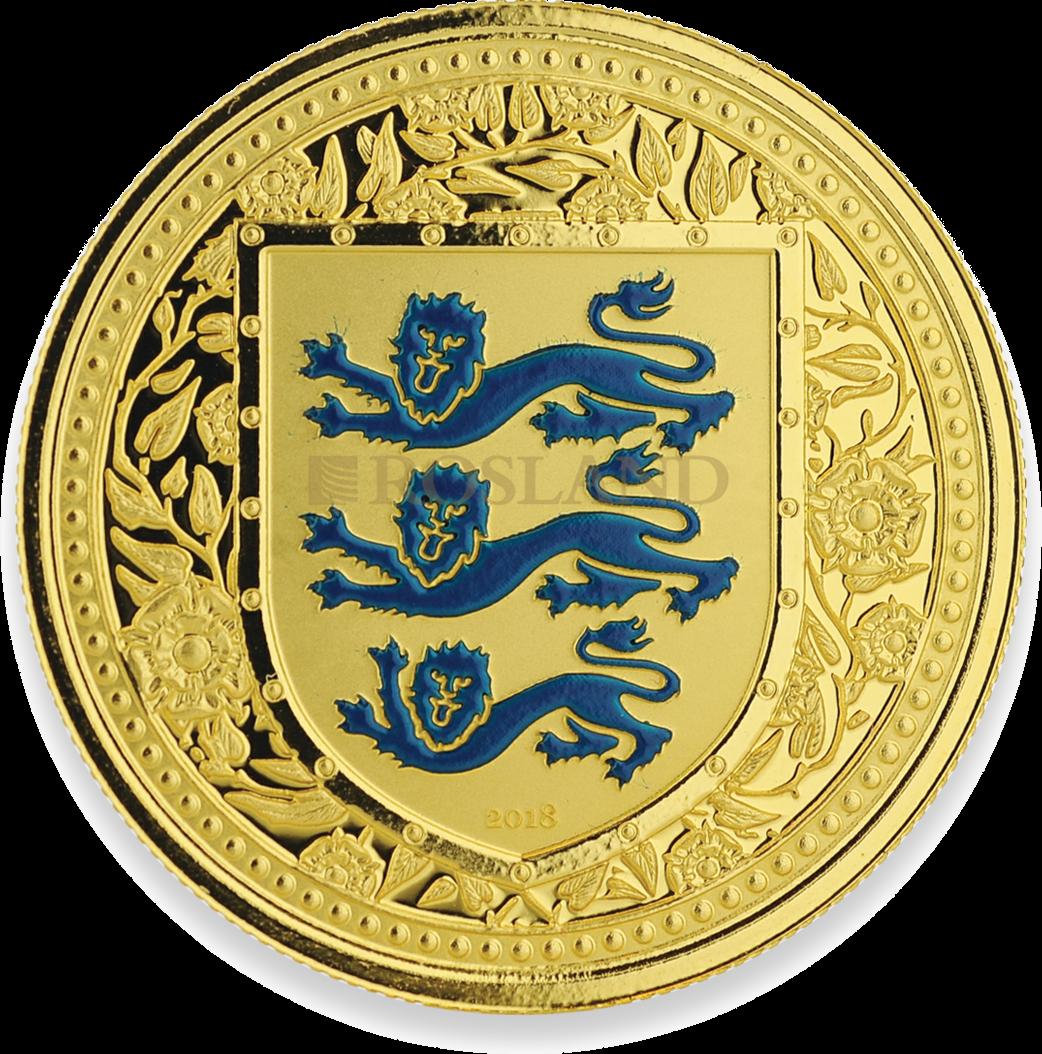 1 Unze Goldmünze Great Britain The Royal Arms Blau 2018 Reverse Proof (Koloriert, Box)
