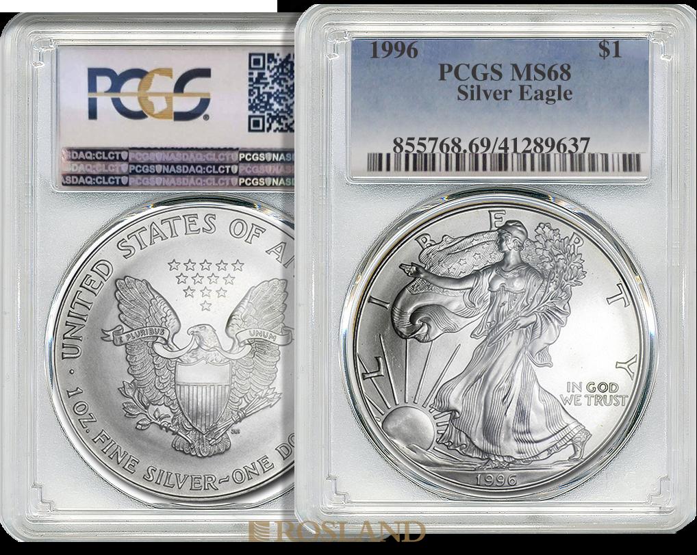 1 Unze Silbermünze American Eagle 1996 PCGS MS-68