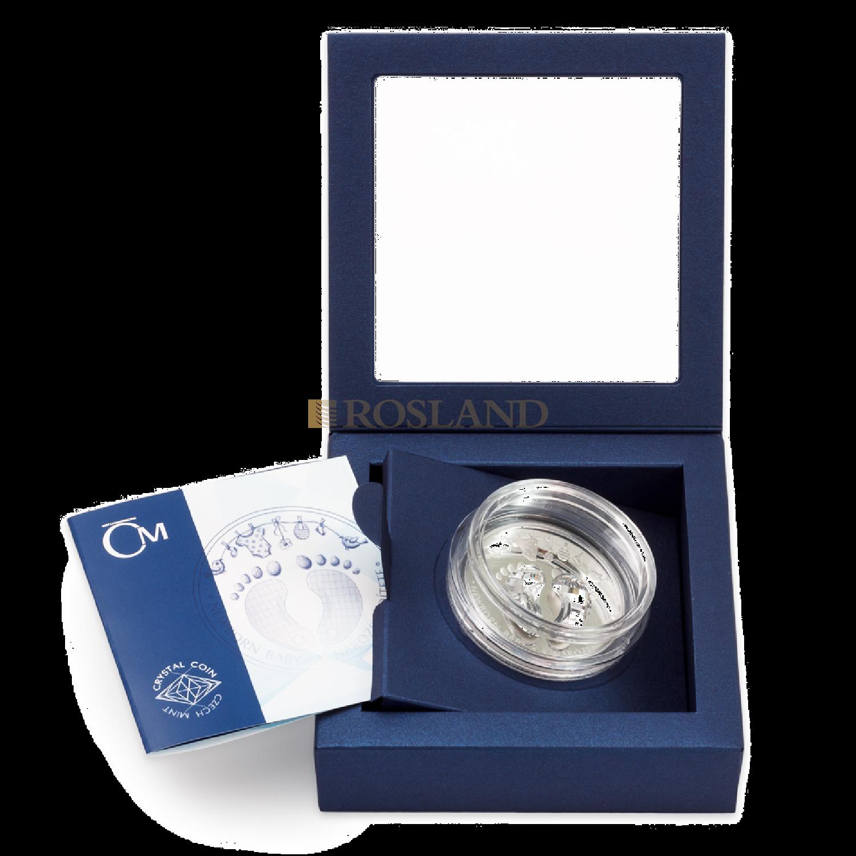 1 Unze Silbermünze Niue New Born Baby 2020 PP (Box, Zertifikat, Edelstein)