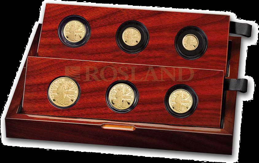 60 Gramm - 6 Goldmünzen Britannia Set 2020 PP (Box, Zertifikat)