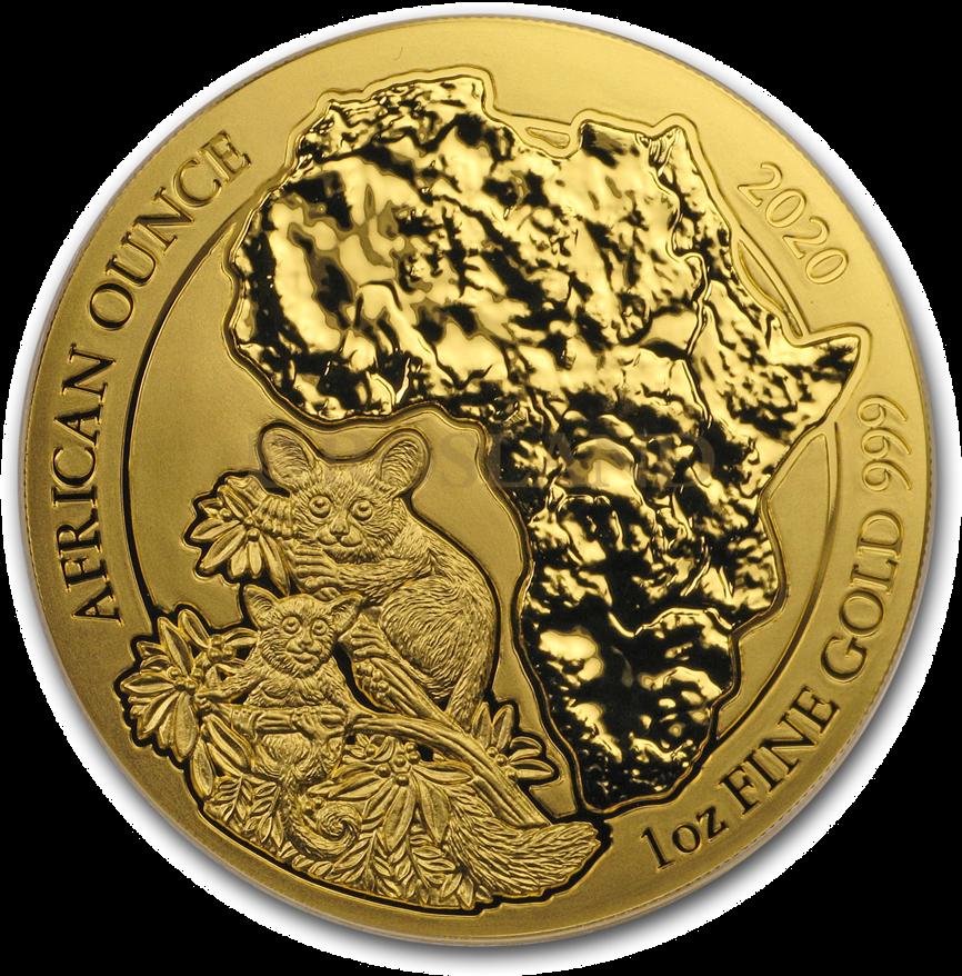 1 Unze Goldmünze Ruanda Wildlife Galagos 2020 (Box, Zertifikat)