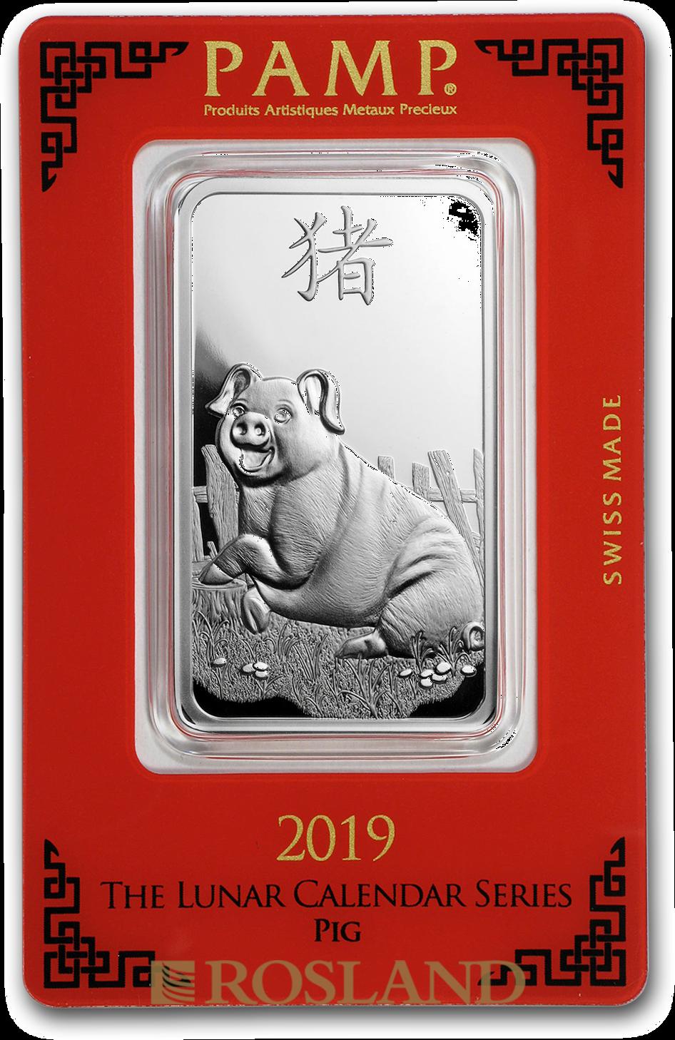 1 Unze Silberbarren PAMP Lunar Jahr des Schweins 2019